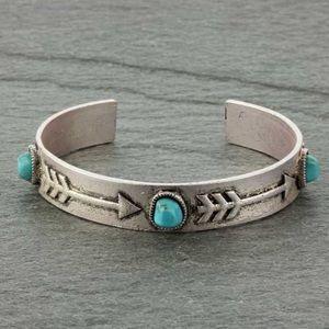 Arrowhead Faux Turquoise Stone C Cuff Bracelet